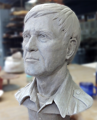 Sculpture of a man's head in clay