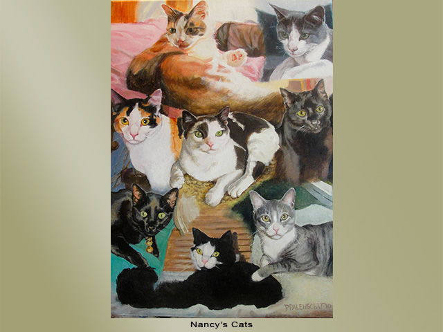 Painting of a group of cats